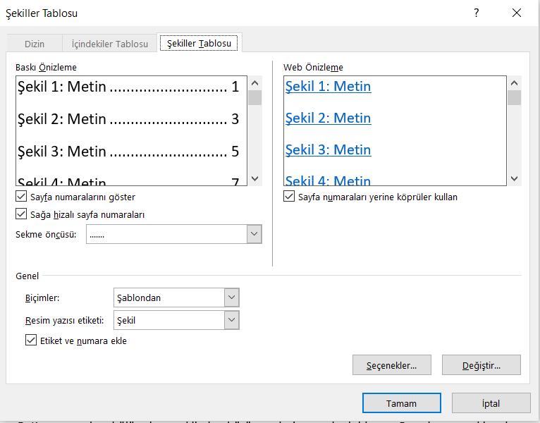 Word Şekiller Tablosu Ekleme 3