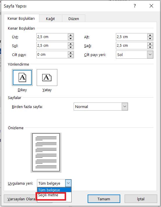Word'de İlk Sayfa Dikey İkinci Sayfa Yatay 6