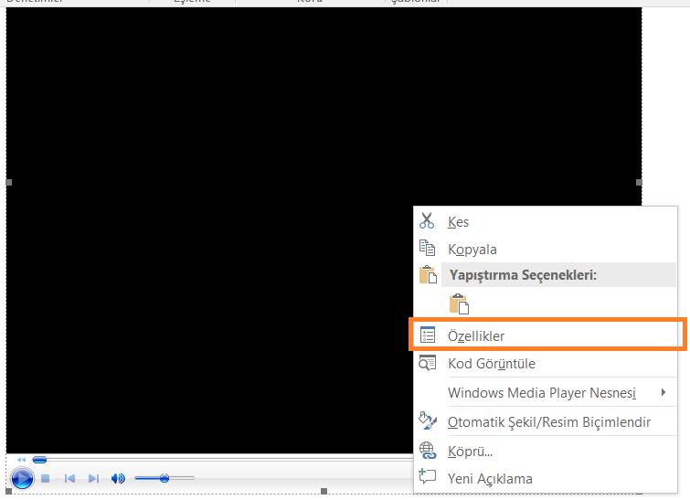 Word Dosyasına Video Ekleme 12